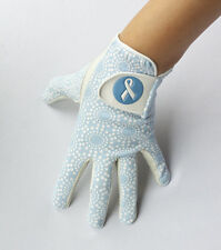 LADIES FULL CABRETTA LEATHER PALM GOLF GLOVE WITH BABY BLUE PATTERN