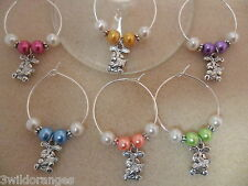 Easter Wine Glass Charms / Napkin Rings Set of 6 8 10 or 12 Rabbit with Carrot