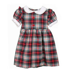 New Fashion Childrens Girls Red Check Tartan Dress Button Top - 1 Year - 4 Years