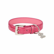 Zack & Zoey Dog Puppy Pet Pink Croco Collar with Bone Charm Gift NEW