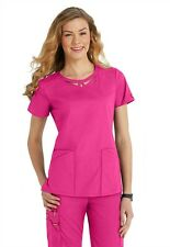Dickies Medical EDS Signature Scrubs Hot Pink Peek-A-Boo Top Size XS-Small NWT
