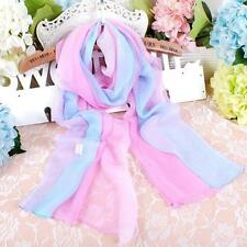 Women Lady Gradient Hit Color Long Soft Scarf Chiffon Wrap Shawl  Stole Scarves
