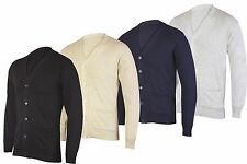 Mens Long Sleeve V neck Button Front Cardigan Smart Casual Full Buttoned Cardi