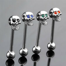 14G Stainless Steel CZ Gem Skull Silvery Tongue Barbell Ring Bar Body Piercing 1