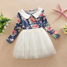 Sweet Baby Girls Kids Outfits Long Sleeve Floral Party Princess Tulle Tutu Dress