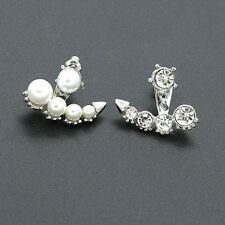 Pretty Women Girls Pearl Rhinestone Crystal Asymmetric Ear Studs Earring