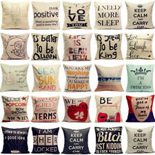 Vintage Funny Words Letter Cotton Liner Pillow Case Throw Cushion Cover Home New