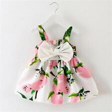 Toddler Kids Baby Girls Summer Floral Dress Bowknot Princess Party Pageant Dress
