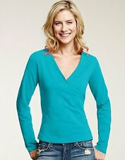 Hanes Signature TAGLESS Ultimate Stretch Cotton Long-Sleeve Wrap Women's Top