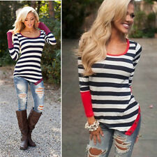 Fashion Neck Top Long Sleeve Sexy Blouse New Striped Crew Casual T-Shirt Women