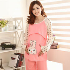 Maternity Sleepwear Pregnant Pajamas Soft Cotton Long Sleeve Top and Pants L, XL