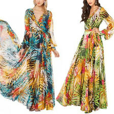 Womens Empire Waist Tropical Summer Beach Dress Evening Party Maxi Long Dresses