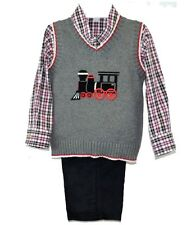 Boys Appliqued Train Sweater Vest Shirt Pant Set Good Lad NWT  4 5 6