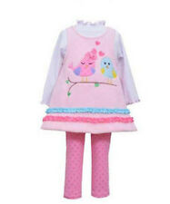 Girls Legging Set Pink Fleece Birds Ruffled Legging Set by Bonnie Jean NWT