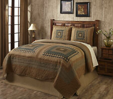 Primitive Country Rustic Earthtone Log Cabin King Quilt Set with 2 Shams
