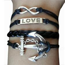 NEW Infinity Anchors Love anchor Friendship Leather Charm Bracelet silver Punk