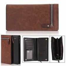 Men Long Bifold Classic Zip IDCard Money Passport Holder Wallet Card Bag Handbag
