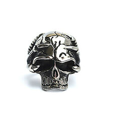 Men's Fashion Gothic Stainless Steel Silver Skull Biker Rings Jewelry Size 7-13