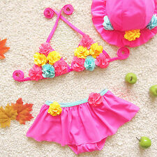 Floral Cute Kids Baby Girls Bikinis Sets Swimwear W/Cap Two Pieces Bathing Suits