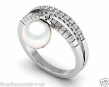 0.20 ct Round Brilliant Cut Diamond Pearl Dangle Half Eternity Ring in 18K Gold