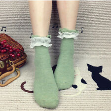 One Pair Lace Ruffle Frilly Ankle Short Socks Ladies Princess Girl Stockings new