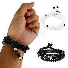 Ethnic Ceramic 108 Rosary Beads Prayer Handmade Stretch Bracelet Bangle