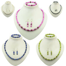 Dyed Freshwater Pearl Stretch Bracelet Necklace Earring Women Jewelry Sets