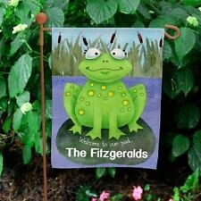 Personalized Welcome To Our Pad Garden Flag Family Name Frog Lilypad Garden Flag