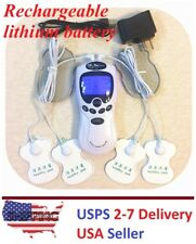 TENS Unit Tens Massager Digital Therapy Acupuncture rechargeable Dual Outputs Ge