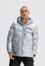 ADIDAS ORIGINALS JEREMY SCOTT HOODED SILVER RED PUFFER JACKET COAT COOL RARE