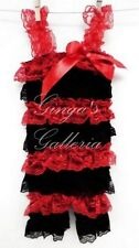 Red and Black Lace Petti Ruffle Rompers, Baby, Toddler, Girls
