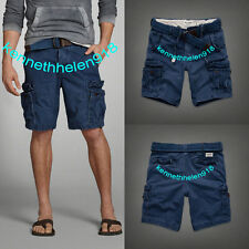 NWT ABERCROMBIE & FITCH MENS CARGO SHORTS NO BELT LIGHT NAVY SIZE 36 A&F