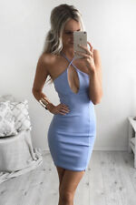 Bandage Dress Summer Hollow Sexy party Dress Fashion Women Blue Bodycon Clothes