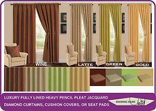 Versailles Curtains with Chenille Diamond Detail Readymade Fully Lined Pencil