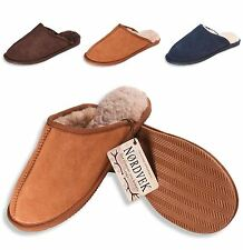 Nordvek Mens Genuine Sheepskin Slippers Mules & Hard Rubber Sole Real 433-100