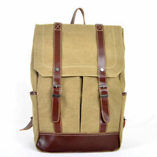 Men's Leather Canvas Duffle Backpack Outdoor Travelling Bag School Student Bag