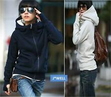 Fashion Women's Zip Jacket Hooded Tops Short Sweatshirt Sports Hoodie Slim Coat