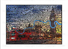 London Map Poster, Word Art, Quirky, Big Ben, Red Bus, Wall Art, All Sizes