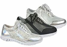 Womens glitter mesh lace up casual running trainers shoes.