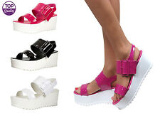 Womens Ladies Strappy Low Mid Wedge Chunky Flatform Sandals Shoes Size