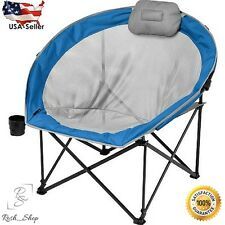 Folding Outdoor Lounge Chair Cup w/ Pillow Holder Picnic Beach Sport Camping Fis