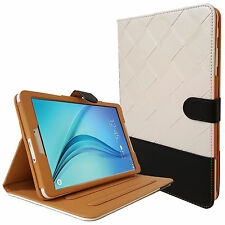 """Real Flip Leather Folio Stand Case Cover Samsung Galaxy Tab E 9.6"""" and Tab A 9.7"""