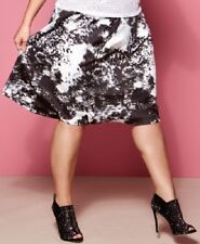 INC Plus Size A Line Skirt Black White Floral Pleated 18W 24W NWT P1