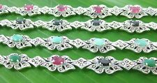 100%REAL925 sterling silver REAL STONE Emerald Ruby Sapphire &Marcasite BRACELET