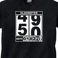 "50th BIRTHDAY T-Shirt ""OLDOMETER"" BLACK Tee -50 Year Old BIRTHDAY FUNNY TEE"