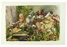 60s Exhibited Garden Rubble Cow Parsley Watercolour Landscape Painting Harrison
