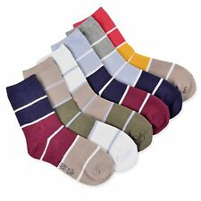 Naartjie Boys Cotton Sports Crew Socks Rugby Stripe 6 Pairs Pack, NWT