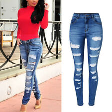Ladies Womens Distressed Ripped Jeans Denim Pants Slim Skinny Hole Stretch Jeans