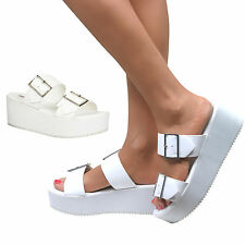 Womens White Chunky Sole Flatform Sandals Wedges Platform Shoes Size