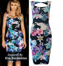 Womens Ladies Celebrity Kim Kardashian Floral Square Neck Bodycon Party Dress